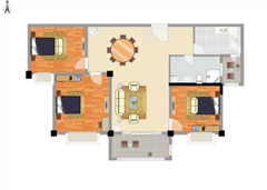 南通碧桂园 出租3室2厅1卫 93平 1500元/每月