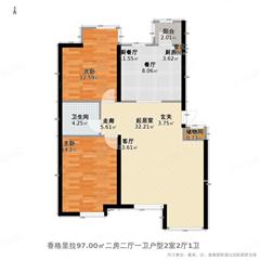 城开御园二期 出租2室1厅1卫 89平 1600元/每月